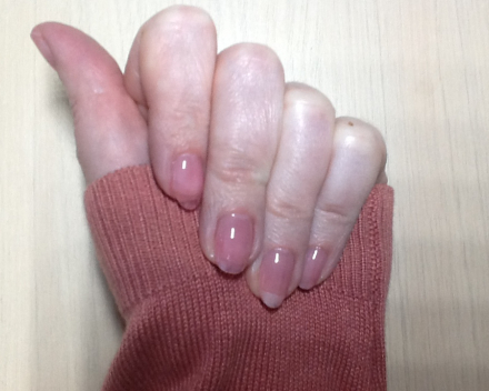 Versteviging met structure gel pink.